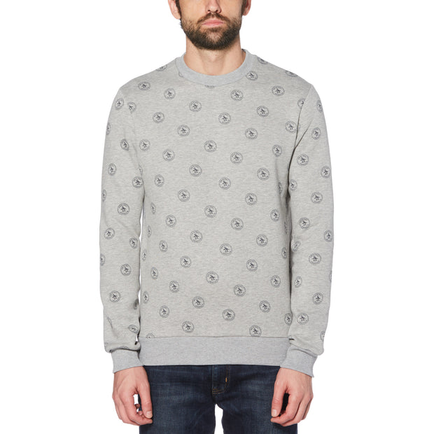 GREY PENGUIN STAMP PRINT SWEATER IN RAIN HEATHER