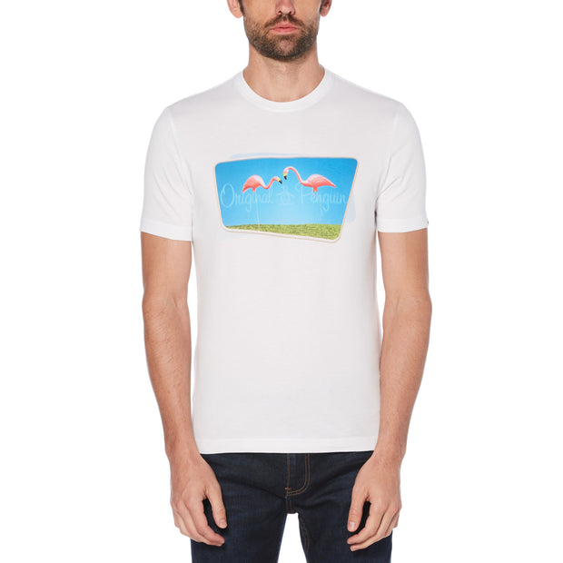 Lawn Flamingo T-Shirt In Bright White