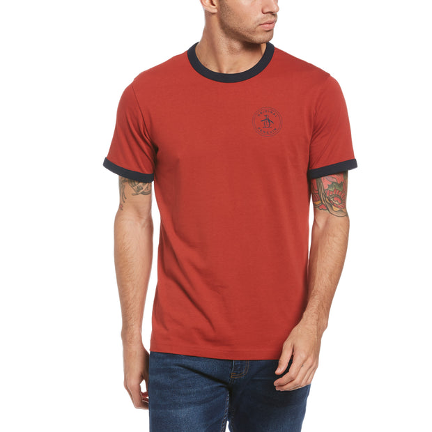 Stamp Ringer Logo T-Shirt In Red Ochre