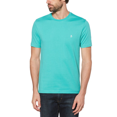 EMBROIDERED LOGO T-SHIRT IN BRIGHT AQUA