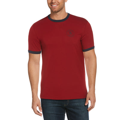 Stamp Logo Ringer T-Shirt In Red Dahlia