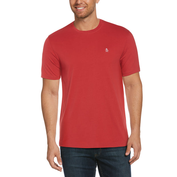 Pin Point Embroidery T-Shirt In Cardinal