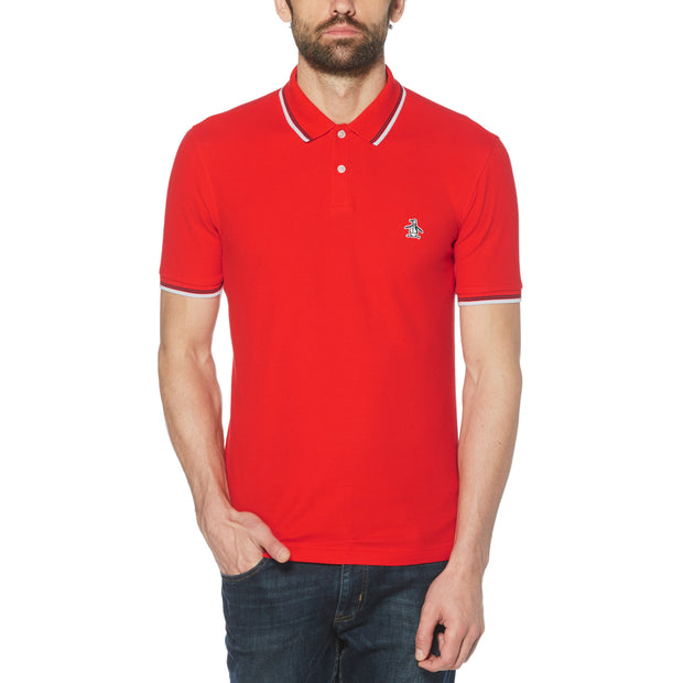 Sticker Pete Pique Polo Shirt In High Risk Red