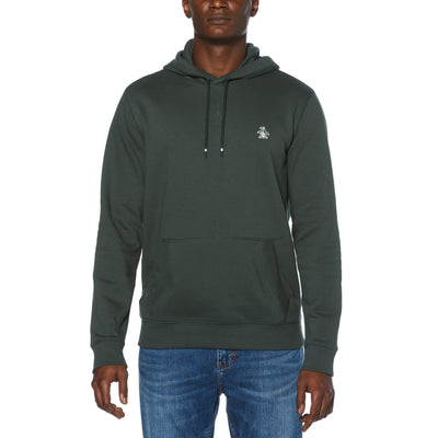 STICKER PETE FLEECE PULLOVER HOODIE IN DARKEST SPRUCE