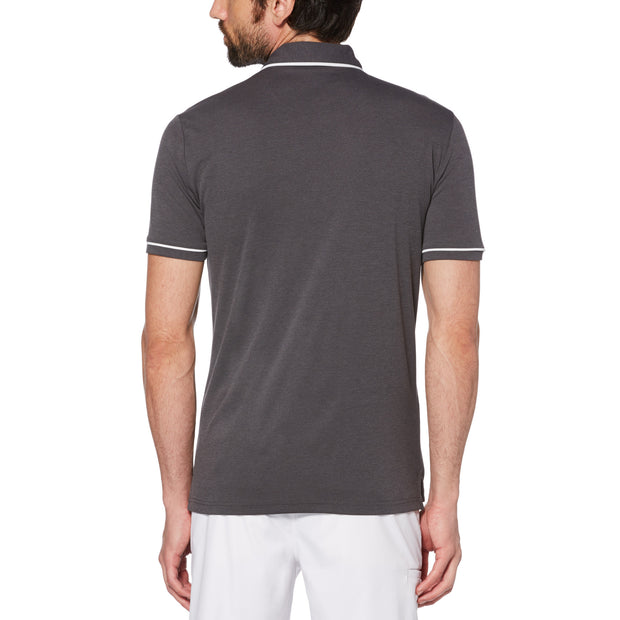 Oxford Texture Golf Polo Shirt In Caviar