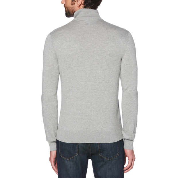 SUPIMA COTTON QUARTER ZIP SWEATER IN RAIN HEATHER