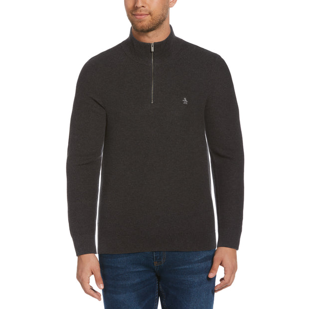 Quarter Zip Tuck Stitch Sweater In Dark Charcoal Heather