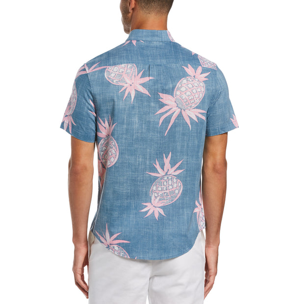 Pineapple Print Short Sleeve Shirt In Copen Blue