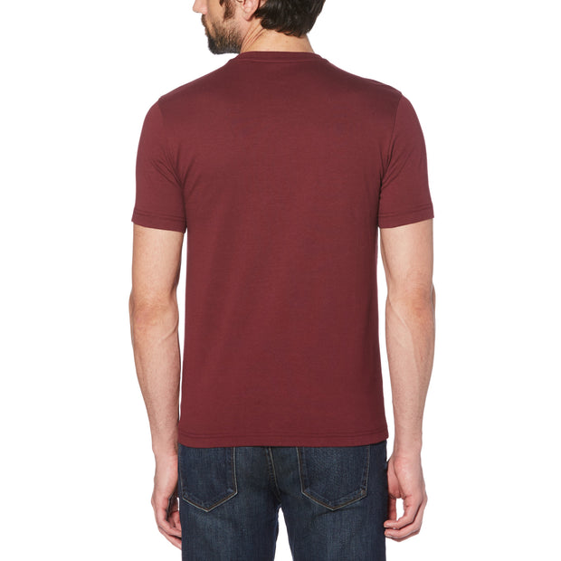 PRINTED STAMP LOGO T-SHIRT IN TAWNY PORT