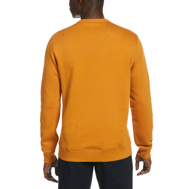 Sticker Pete Fleece Crew Neck Sweatshirt In Sudan Brown