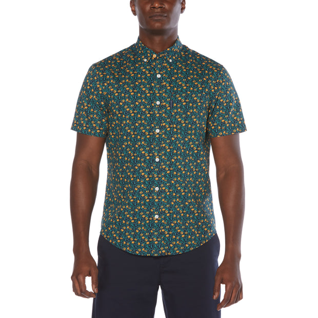 Ditsy Orange Print Short Sleeve Shirt In Dark Sapphire