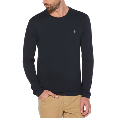 Pin Point Long Sleeve T-Shirt In Dark Sapphire