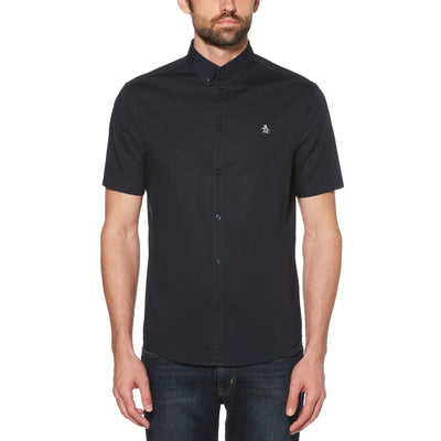 SHORT SLEEVE POPLIN SHIRT IN DARK SAPPHIRE