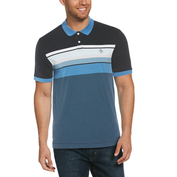 Engineered Stripe Polo Shirt In Dark Sapphire