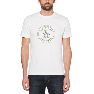 COMBO CAMO CIRCLE LOGO T-SHIRT IN BRIGHT WHITE