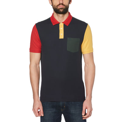 COLOUR BLOCK POLO SHIRT IN DARK SAPPHIRE