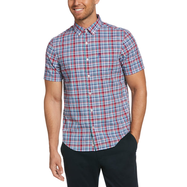 Short Sleeve Check Shirt In Surf The Web