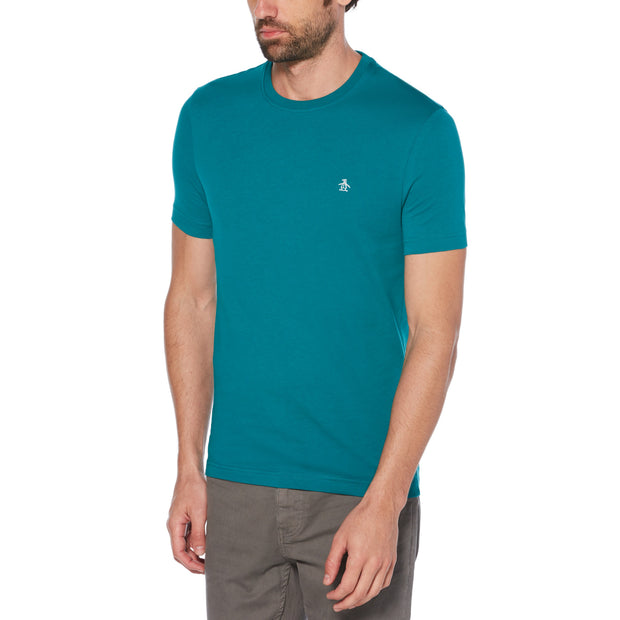Pin Point Embroidery T-Shirt In Deep Lake
