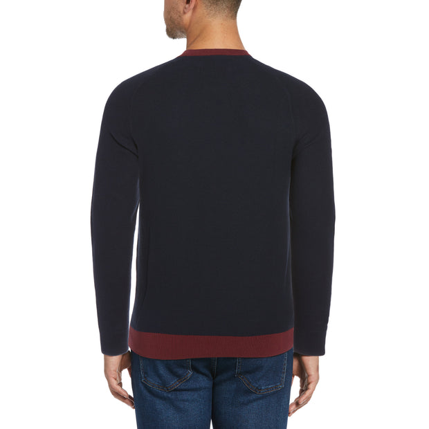 Colour Block Sweater In Tawny Port