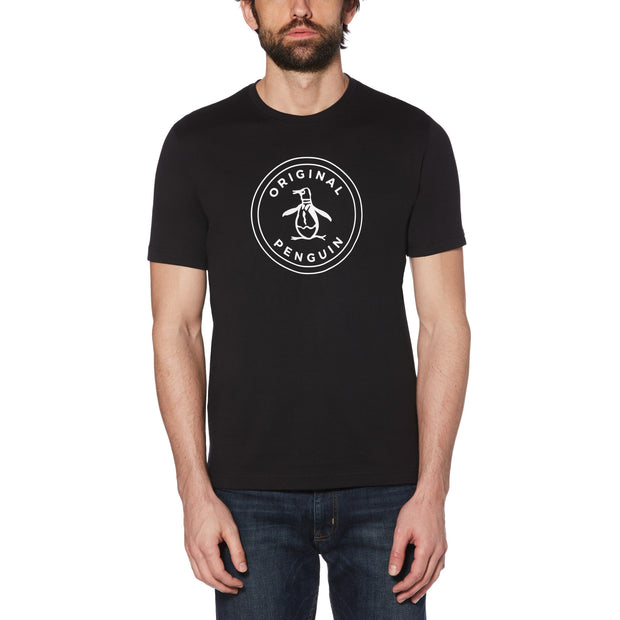 STAMP CIRCLE LOGO T-SHIRT IN TRUE BLACK