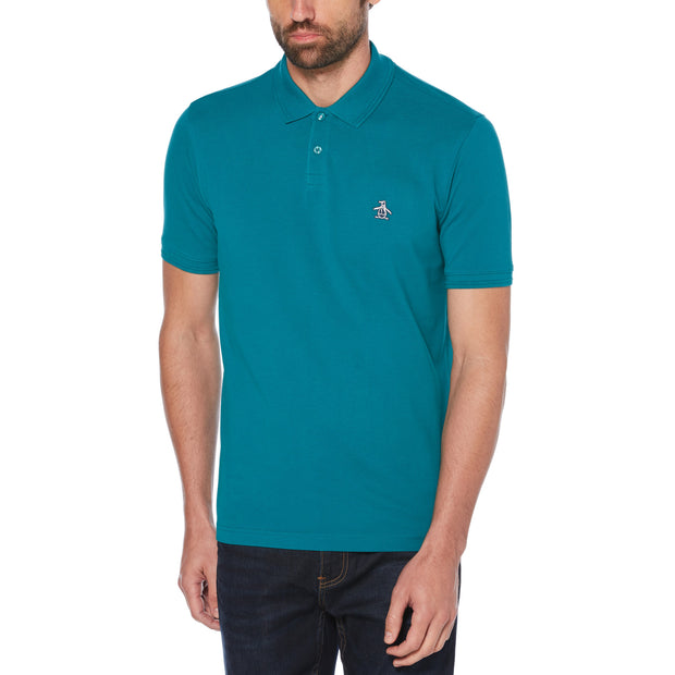 Raised Rib Polo Shirt In Deep Lake