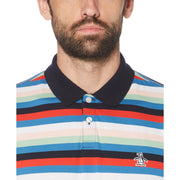 HORIZONTAL STRIPE POLO SHIRT IN DARK SAPPHIRE