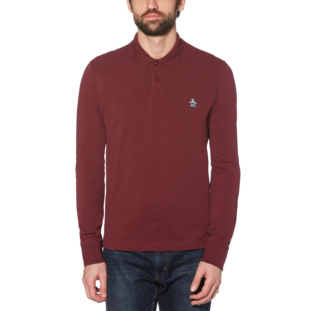 RAISED RIB LONG SLEEVE POLO SHIRT IN TAWNY PORT