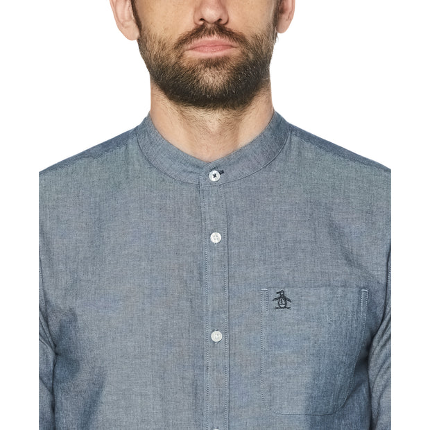 Rinse Wash Denim Bound Collar Shirt In Dark Denim