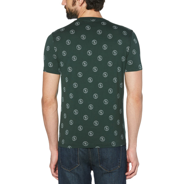 RE-PETE STAMP LOGO T-SHIRT IN DARKEST SPRUCE
