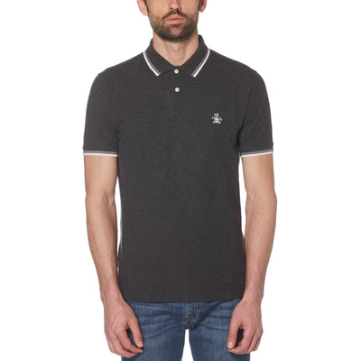 Sticker Pete Pique Polo Shirt In Dark Charcoal Heather