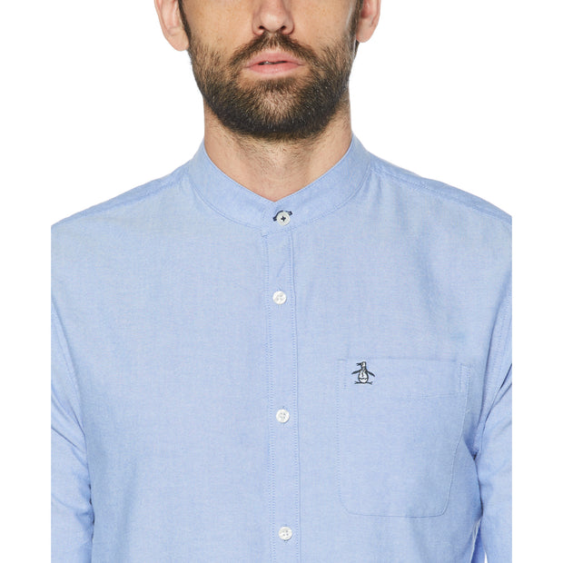 Collarless Oxford Shirt In Amparo Blue