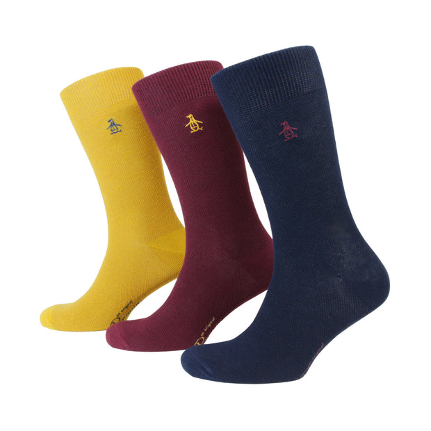 3 PACK BIRDSEYE TEXTURE SOCKS IN ASSORTED COLOURS