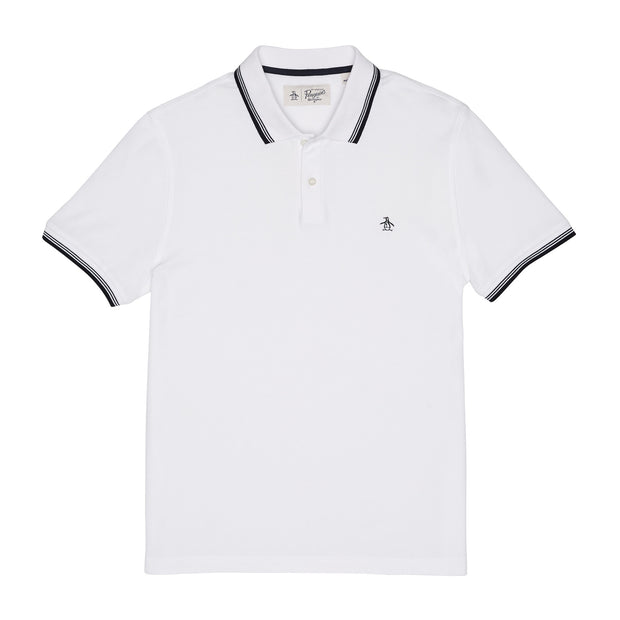 56 TIPPED PIQUE POLO SHIRT IN BRIGHT WHITE