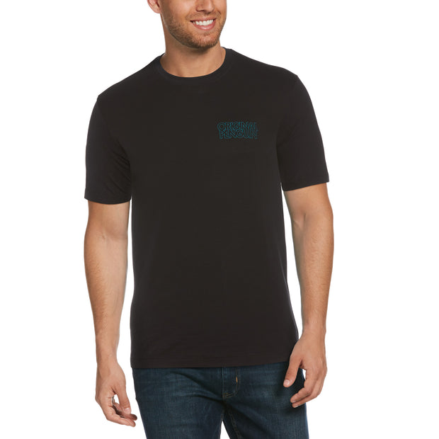 Embroidered Stacked Logo T-Shirt In True Black