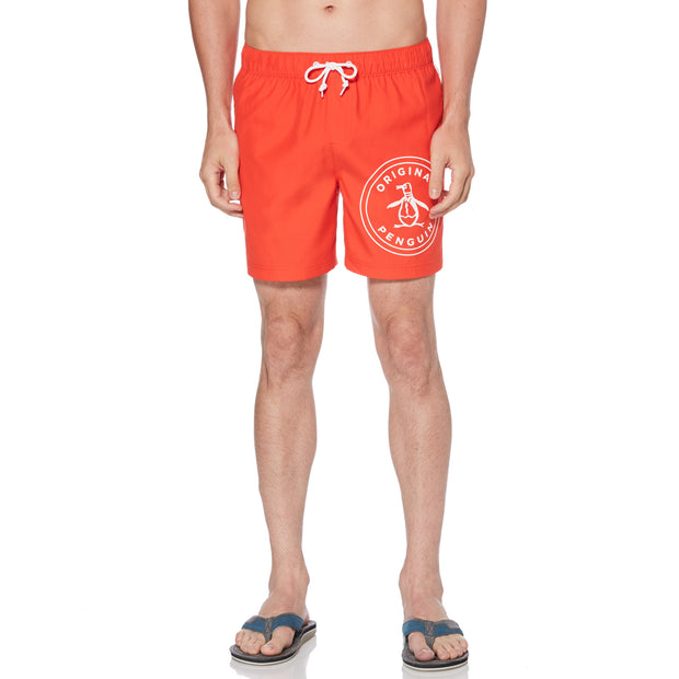 STAMP LOGO SWIM SHORTS IN FLAME SCARLET