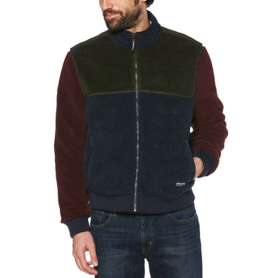 COLOUR BLOCK FAUX SHERPA BOMBER JACKET IN DARK SAPPHIRE