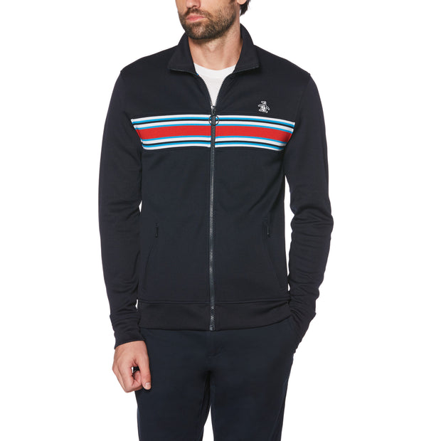 COLOUR BLOCK TRACK JACKET IN DARK SAPPHIRE