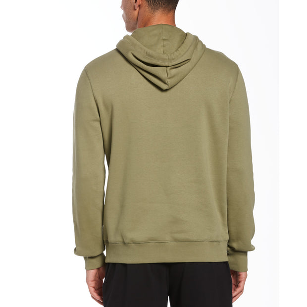 Sticker Pete Fleece Pullover Hoodie In Deep Lichen Green