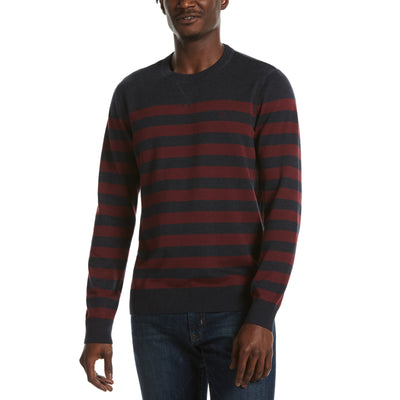 Cotton Stripe Crew Neck Sweater In Dark Sapphire