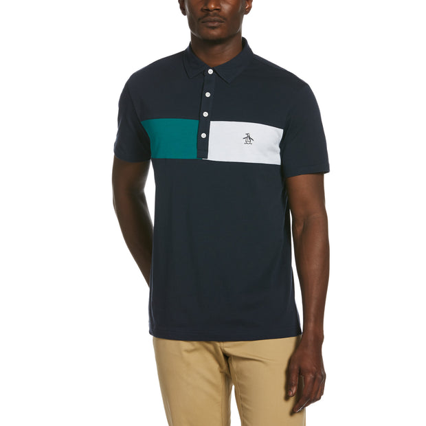 Colour Block Chest Stripe Polo Shirt In Dark Sapphire