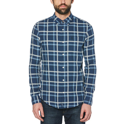 HEATHERED DOBBY PLAID SHIRT IN SARGASSO SEA