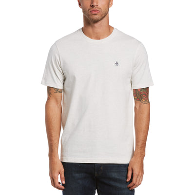 Pin Point Embroidery T-Shirt In Light Grey Melange