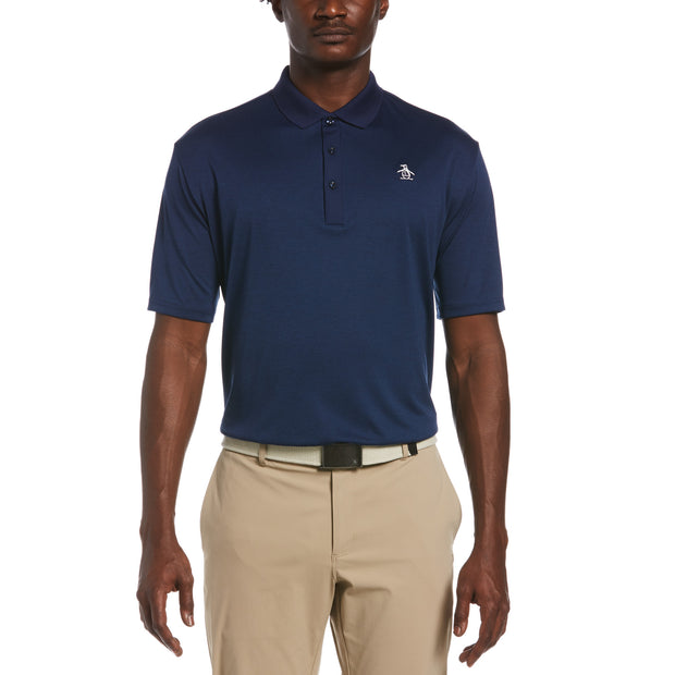 Three Strokes Golf Polo In Black Iris Heather