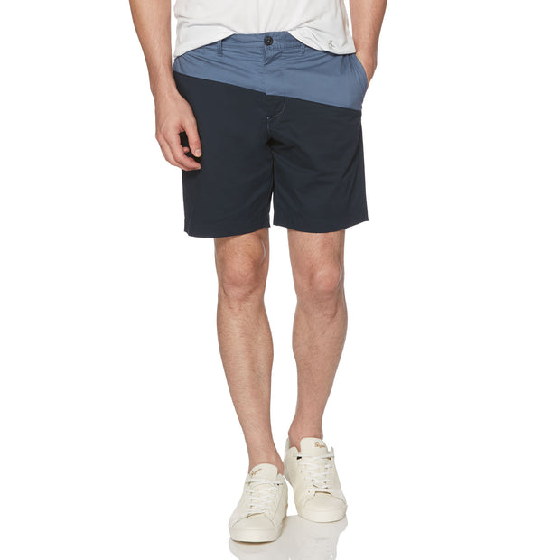 Colour Block Slim Fit Shorts In Dark Sapphire