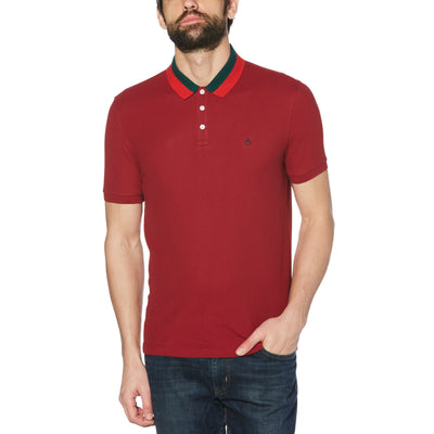STRIPED COLLAR POLO IN BIKING RED