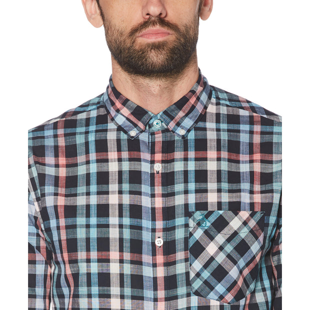 PLAID POCKET SHIRT IN DARK SAPPHIRE