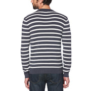 BRETON STRIPE CREW NECK SWEATER IN DARK SAPPHIRE