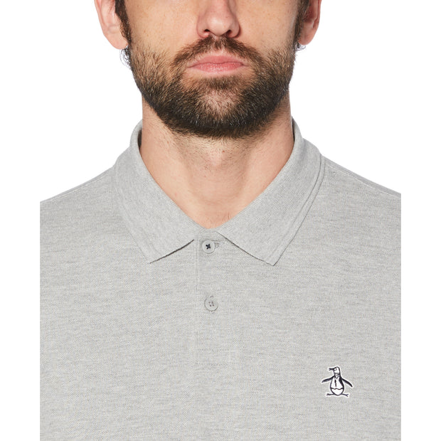 Raised Rib Polo Shirt In Rain Heather