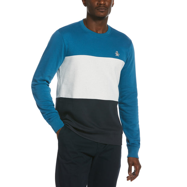 Colour Block Fleece Sweatshirt In Blue Sapphire