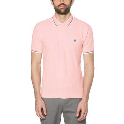 STICKER PETE PIQUE POLO SHIRT IN IMPATIENS PINK